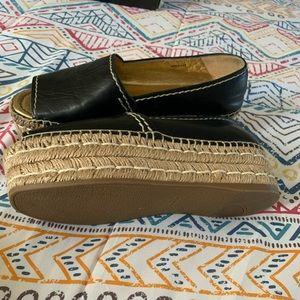 Prada black peep toe leather platform shoes